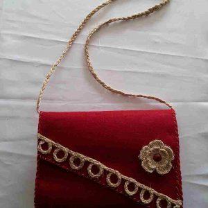 Kırmızı Sarı- kapaklı bayan çantası-muz lifi sanat eserleri-1119