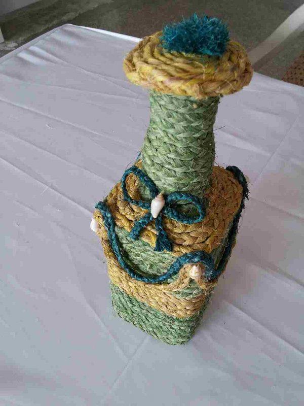 muz-lifinden-sanat-eserleri-Vazo altı-yeşil çiçekli-1114