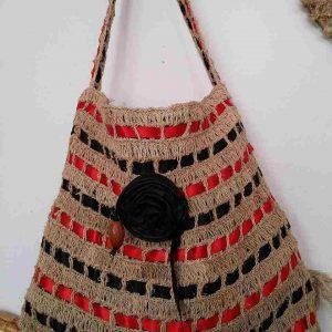 muz-lifinden-sanat-eserleri-bayan çanta-kırmızı siyah kuşak desenli-131